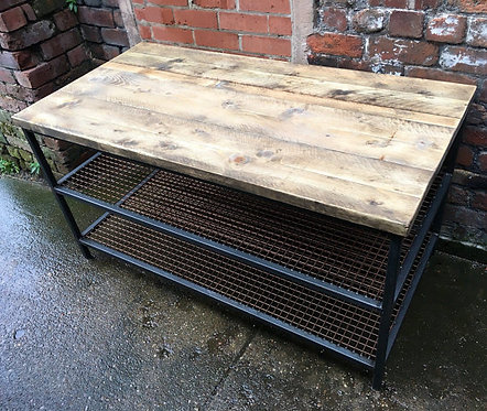 Industrial Chic Reclaimed Custom Copper 2 Shelf Coffee Table TV Unit 006