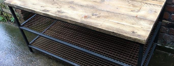 Industrial Chic Reclaimed Custom Copper 2 Shelf Coffee Table TV Unit 006