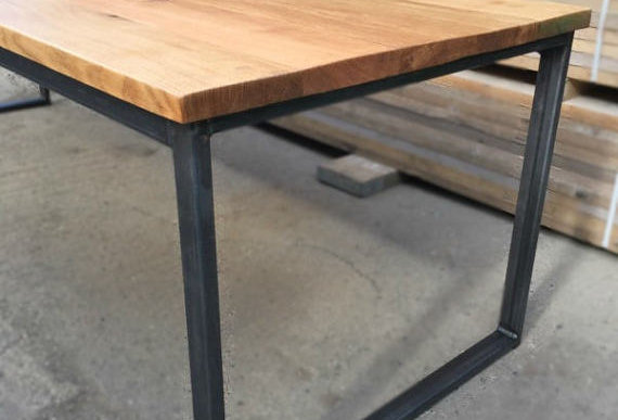 Solid Full Stave Oak Industrial Chic 6-8 Seater Wood Steel Dining Table HCB 517