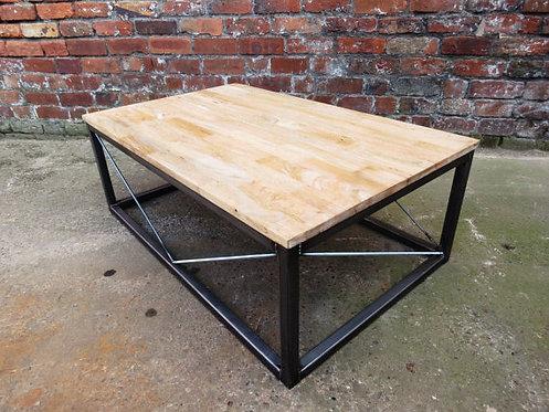 Oak Block Top Custom Coffee Table with Steel Base 305