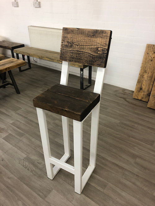 ***IN STOCK*** RECLAIMED TALL STOOL IN DARK OAK WITH BACK AND WHITE FRAME