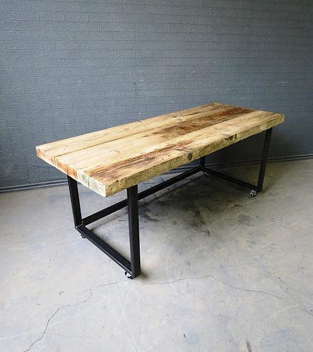 Industrial Chic Reclaimed Custom Office Desk Tables on Wheels Steel 109