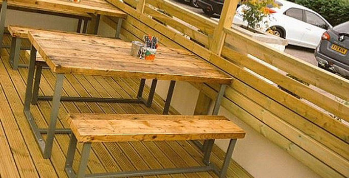 Reclaimed Industrial Chic 6-8 Seater Indoor Outdoor Solid Wood Green CB 321