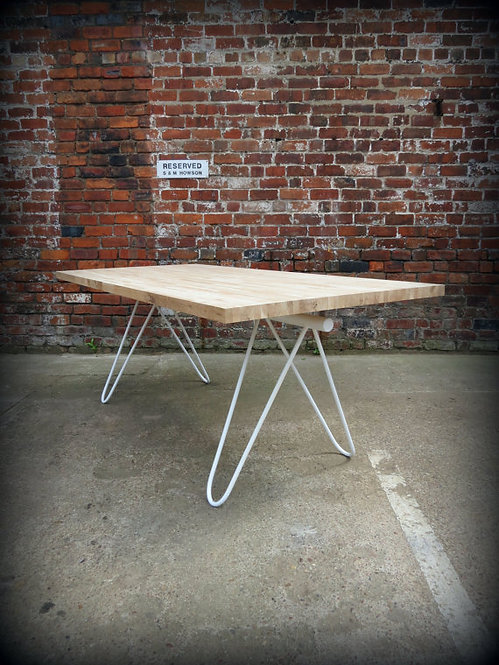 Modern Industrial Chic Solid Oak Block 'Mantes' Hairpin Dining Table White 293