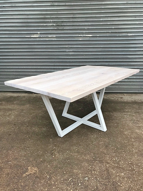Solid Full Stave Oak Ped-Trapezium 6-8 Seater Dining Table in White-619