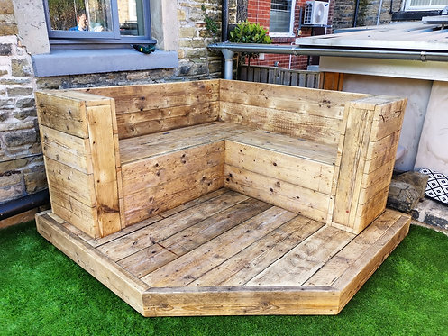 Reclaimed Industrial Rustic Custom Made Corner 'L' Shape Bench and Platform- 664