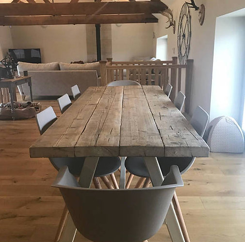 Reclaimed Industrial Chic A-Frame 6-8 Seater Solid Wood & Metal Dining Table 574