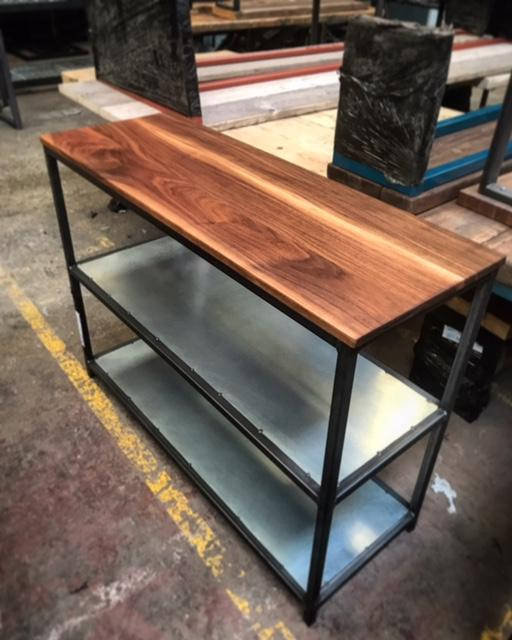 Industrial Chic Custom Solid Walnut Coffee Table TV Unit Bookcase 467