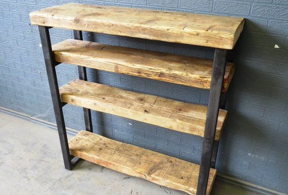 Industrial Chic Reclaimed Custom Steel & Wood Bookcase Shelving Unit 326