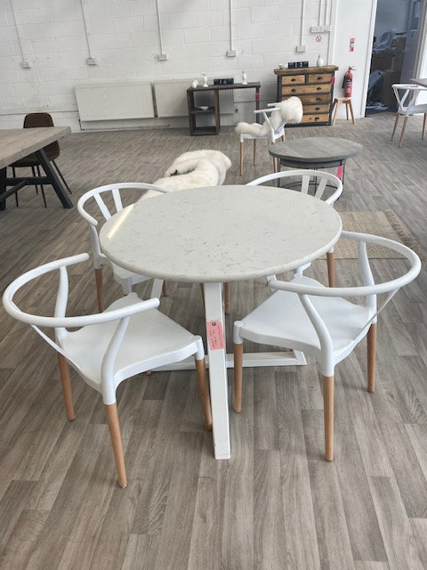 ***IN STOCK*** ROUND MARBLE TRAPEZIUM TABLE WITH WHITE POWDER COATED FRAME