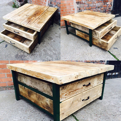 Industrial Chic Style Reclaimed Custom Coffee Table TV Unit With Drawers 280