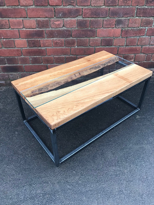 Industrial Oak Live Edge River Coffee table with Glass ...