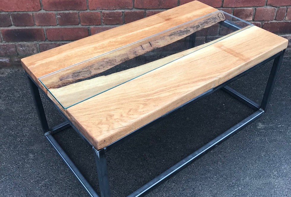 Industrial Oak Live Edge River Coffee Table with Glass Insert - 635