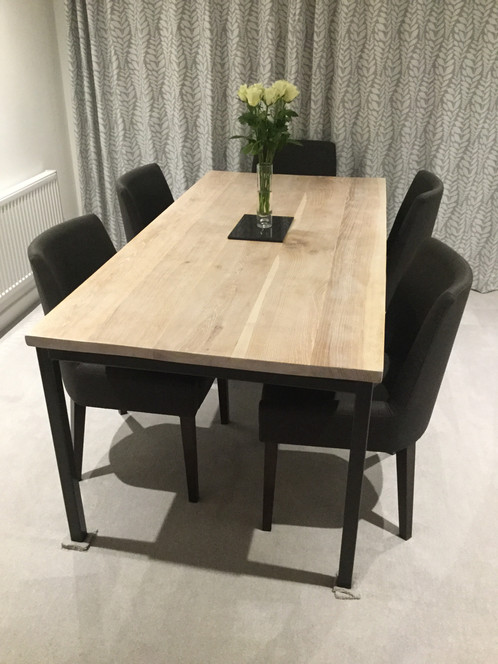 Solid Full Stave Oak Industrial Chic 6 8 Seater Wood U0026 Steel Dining Table  605