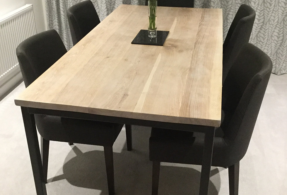 Solid Full Stave Oak Industrial 6-8 Seater Wood Steel Straight Leg Table 605