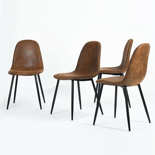 Set of 4 Retro Scandinavian Style Brown Suede Material Metal Legs