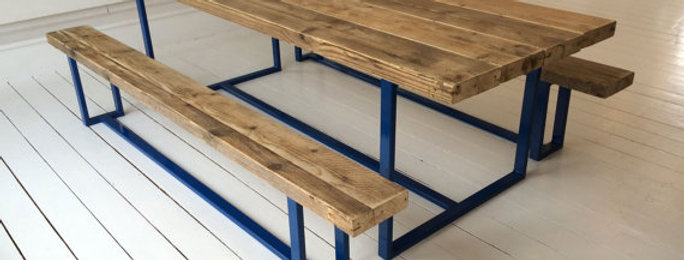 Reclaimed Industrial Chic 6-8 Seater Solid Wood Metal Dining Table Blue CB 137