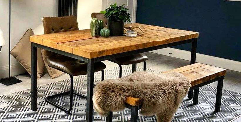 Reclaimed Industrial Chic 6-8 Seater Solid Wood Steel Straight Leg Table - 654