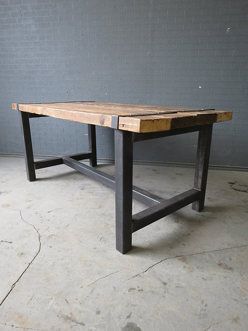 Reclaimed Industrial Chic Medieval 6-8 Seater Solid Wood & Metal Table 112
