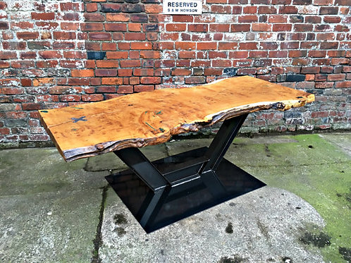 Reclaimed Industrial Chic Waney Live Edge Solid Oak Table 001