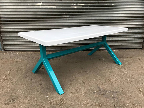 Industrial Chic Y Frame 6 8 Seater White Steel Top U0026 Metal Dining Table