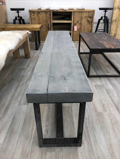 ***IN STOCK*** RECLAIMED BENCH WITH CENTRE BAR IN GREYWASH