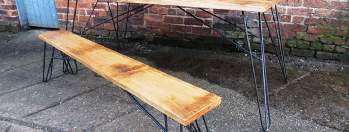 Solid Full Stave Oak Industrial Hairpin Chic 6-8 Seater Steel Table & Bench 228