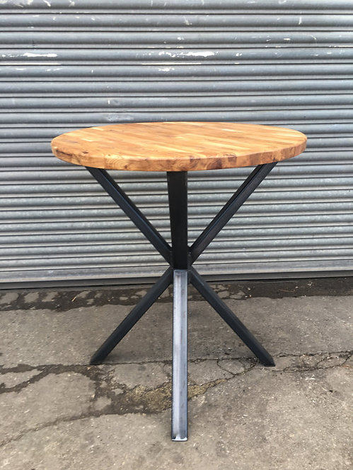 Industrial Chic Solid Oak Custom Round Cafe Restaurant Table Wood & Steel 055