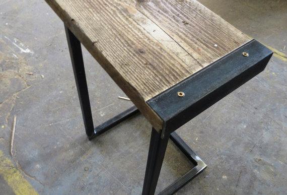 Reclaimed Industrial Chic Style Solid Wood & Metal Breakfast Bar Stool 284