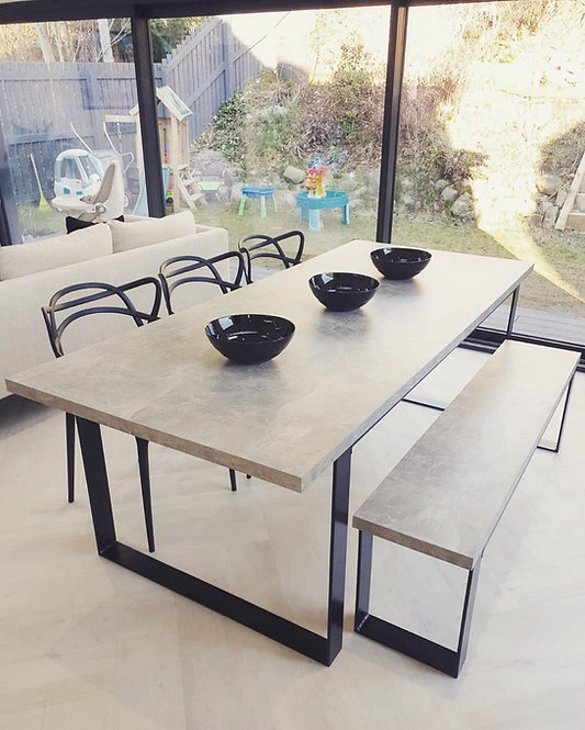 Industrial Modern Flat Steel Concrete Style Table Only - 679