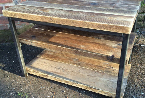 Industrial Chic Reclaimed TV Stand Media Centre Coffee Table 015