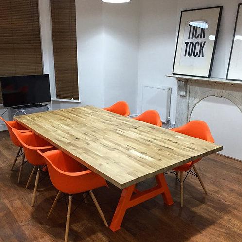 Modern Industrial Chic Solid Oak Block A-Frame Dining Table Orange 395