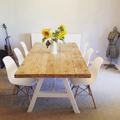 Reclaimed Industrial Chic A-Frame 6-8 Seater Solid Wood & Metal Dining Table 120