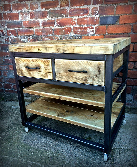Reclaimed Industrial Steel Kitchen Island Unit with Drawers Shelving 239