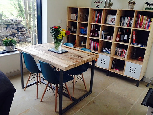 Reclaimed Industrial Chic 4-6 Seater Solid Wood & Metal Dining Table CB 195