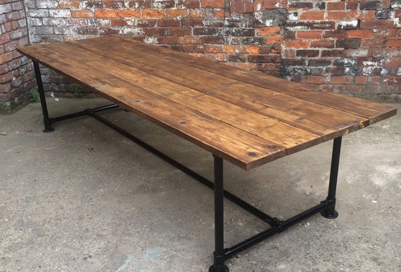 Reclaimed Industrial Chic Pipe 10-12 Seater Conference Office Table 235