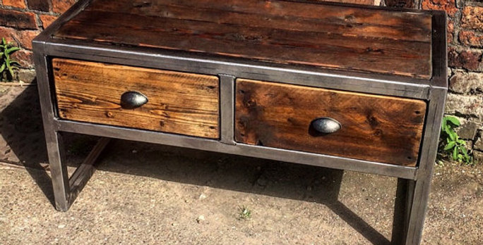 Industrial Chic Reclaimed Custom Coffee Table TV Unit with 2 Drawers 033
