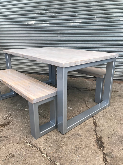 Industrial Chic 6-8 Seater Solid Oak Block Steel Dining Table - 667