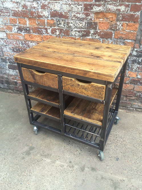 Reclaimed Industrial Wood Steel Kitchen Island Unit With Drawers & Shelving 032