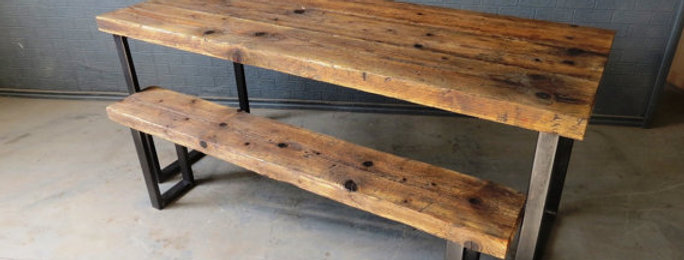 Reclaimed Industrial Chic 6-8 Seater Solid Wood Metal Table & Bench HCB 306