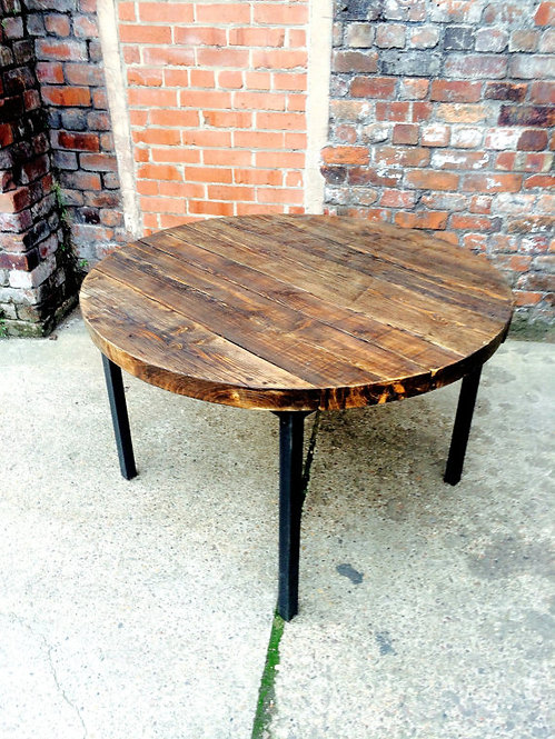 Industrial Chic Reclaimed Custom Round Cafe Straight Leg Table Steel & Wood 427