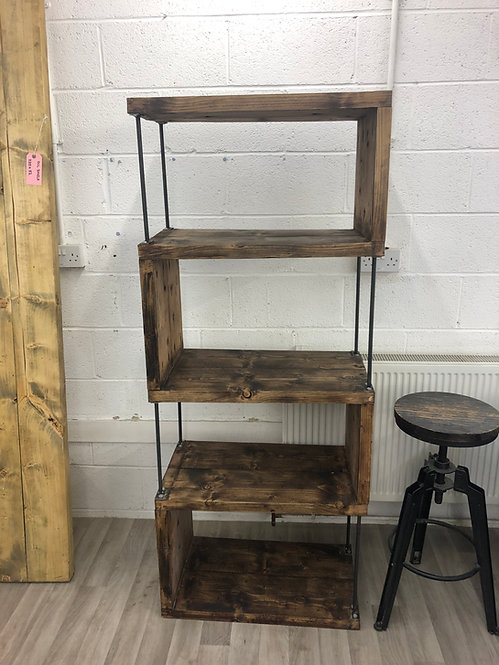 Industrial Chic Reclaimed Custom Steel & Wood Bookcase Shelving Unit - 685