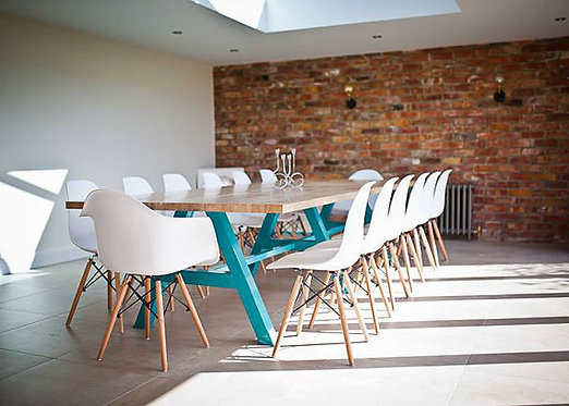 Modern Industrial Chic Solid Oak Block A-Frame Dining Table Teal 462