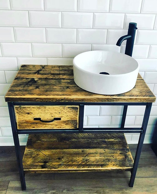 Reclaimed Industrial Rustic Bathroom Basin Washstand Sideboard with Drawer 019