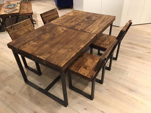 Reclaimed Chic 6 10 Seat Solid Wood Metal Extending Dining Table 104