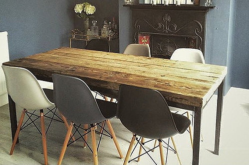 Reclaimed Industrial Chic 6-8 Seater Solid Wood & Metal Straight Leg Table 058