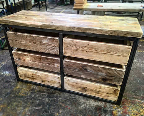 Reclaimed Industrial Chic Reclaimed Timber 6 Drawer Chest Island Unit 054