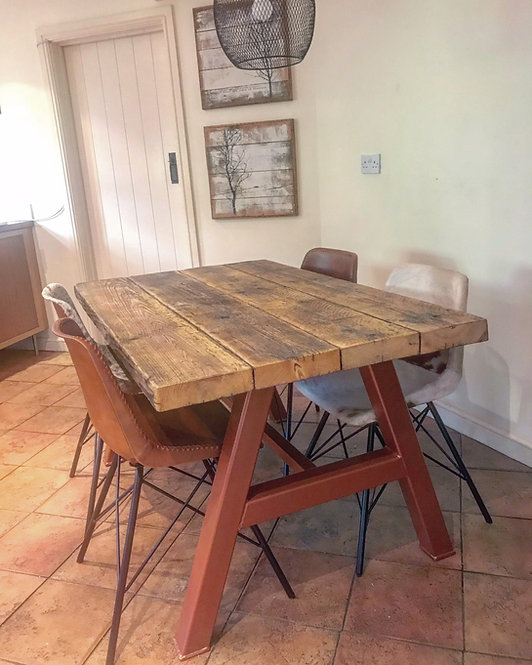 Reclaimed Industrial Chic A-Frame 6-8 Seater Dining Table with Copper Base 582