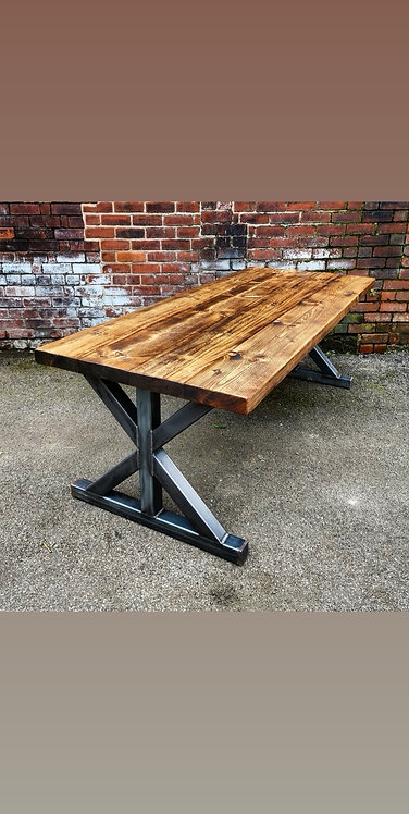 Reclaimed Industrial Chic Union 6-8 Seater Solid Wood Metal Table-651
