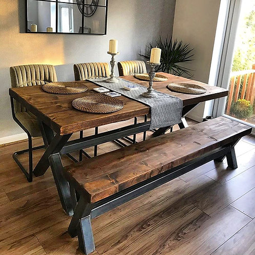 Reclaimed Industrial Chic XX 6-8 Seater Solid Wood & Steel Dining Table - 653